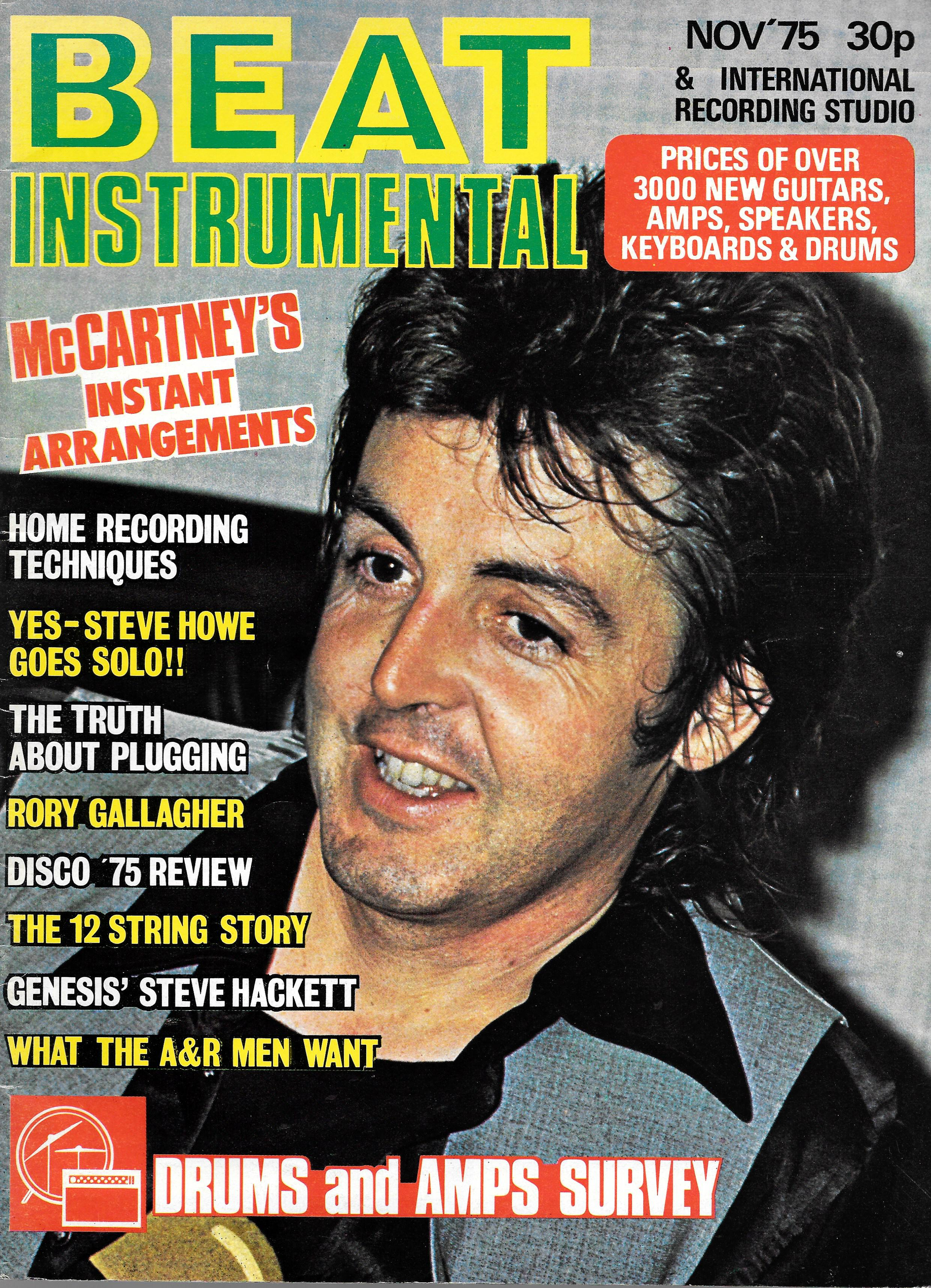 BEAT INSTRUMENTAL UK MAGAZINE NOVEMBER 1975 PAUL MCCARTNEY