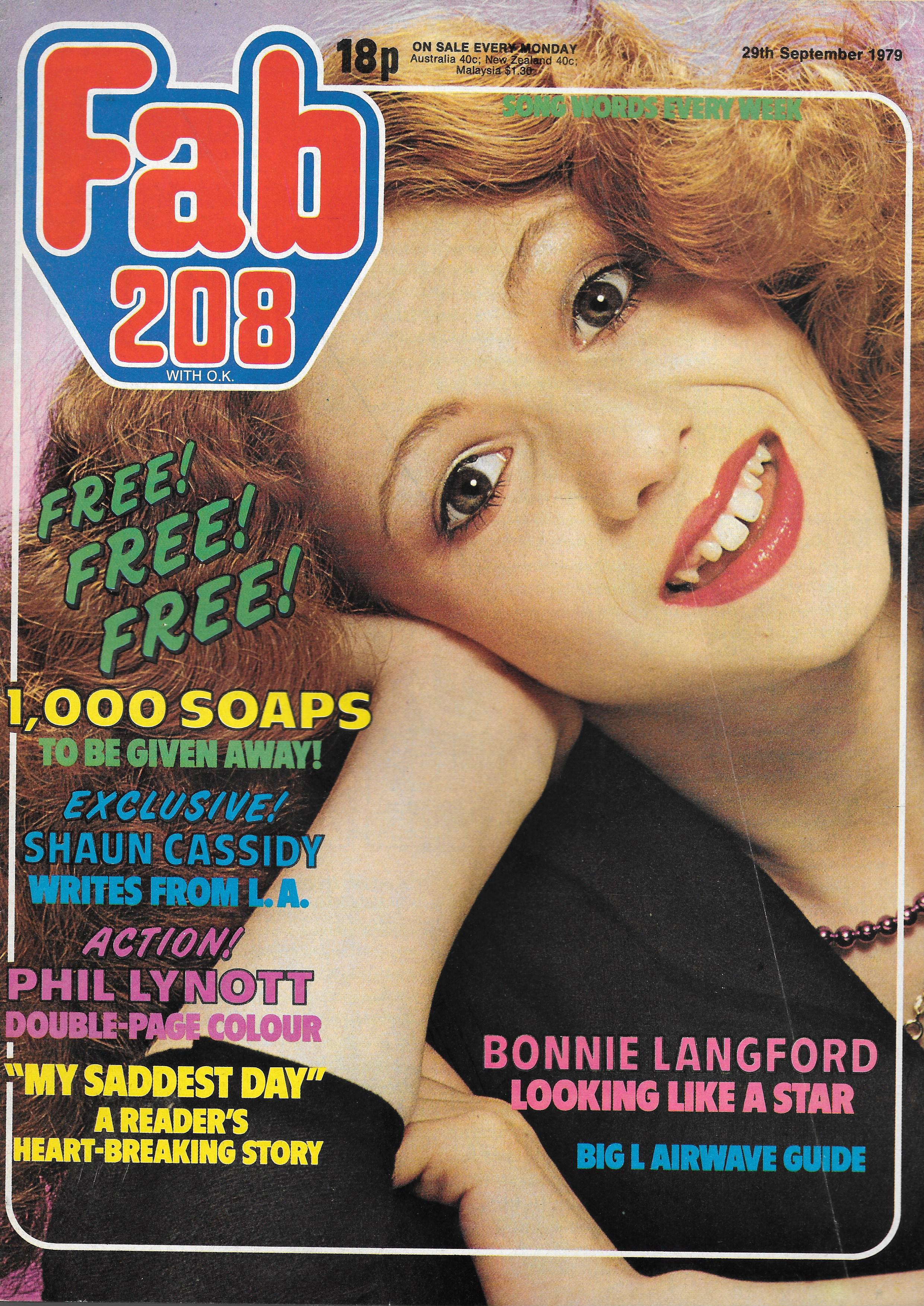 FAB 208 UK MUSIC MAGAZINE SEPTEMBER 29TH 1979 Vintage and Modern Birthday  Issues Tilleys Sheffield
