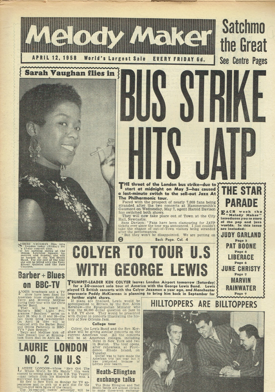 MELODY MAKER UK MUSIC PAPER APRIL 12TH 1958