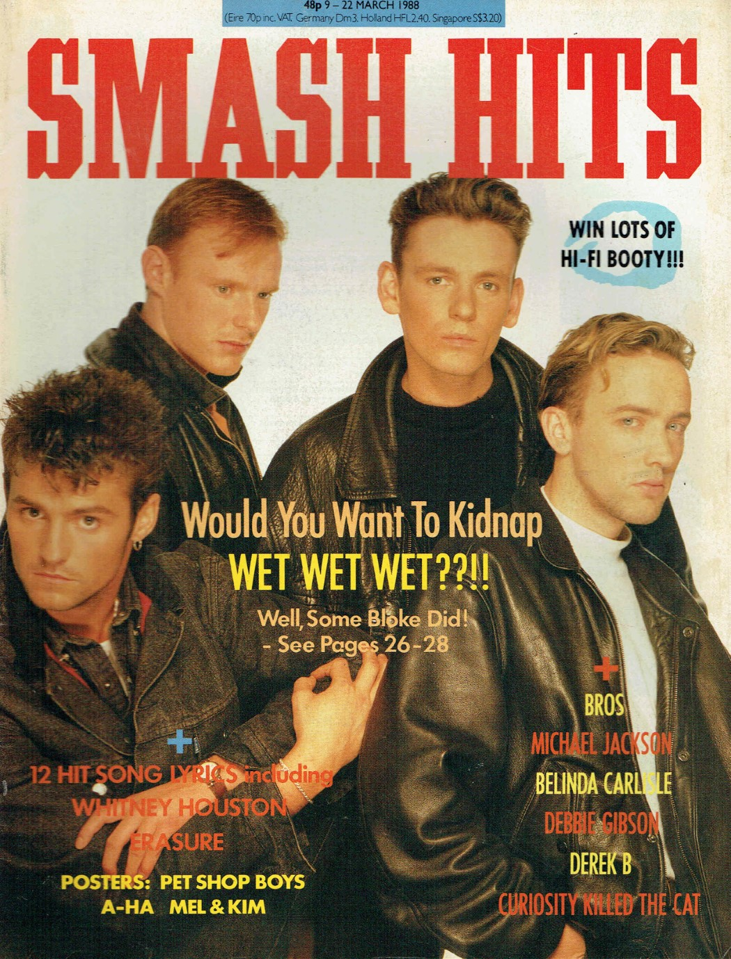 SMASH HITS UK MAGAZINE 9TH - 22ND MARCH 1988 WET WET WET